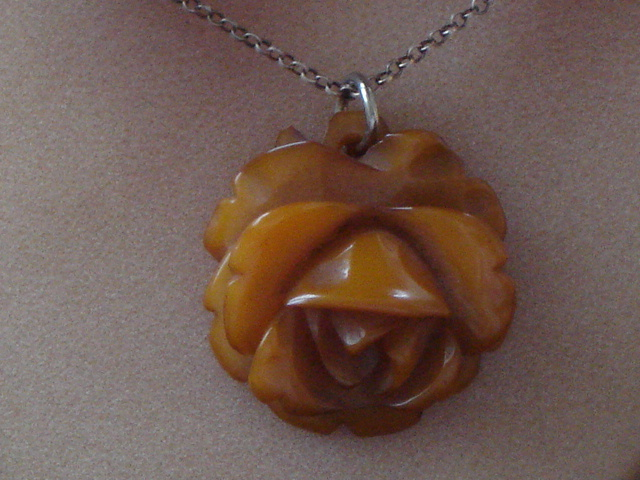 1930 s 1940 s carved bakelite yellow rose pendant on silver chain sold mozeypictures Gallery