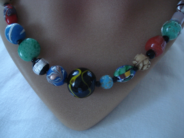 Antique And Vintage Glass Bead Necklace With Sterling