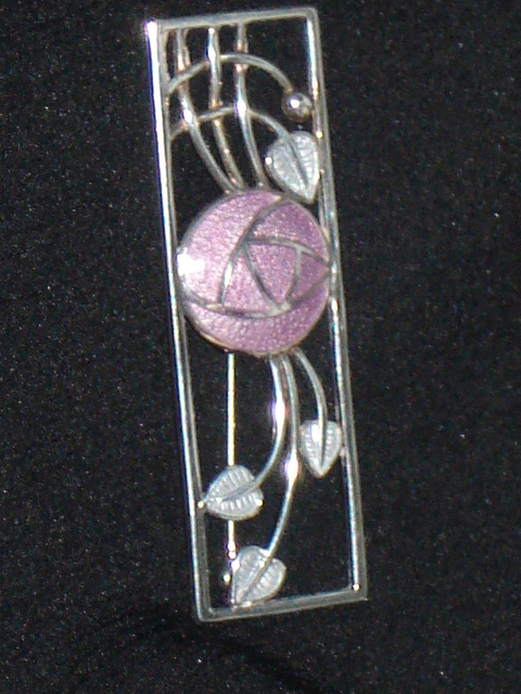 Sterling Silver And Enamel Brooch In The Style Of Charles