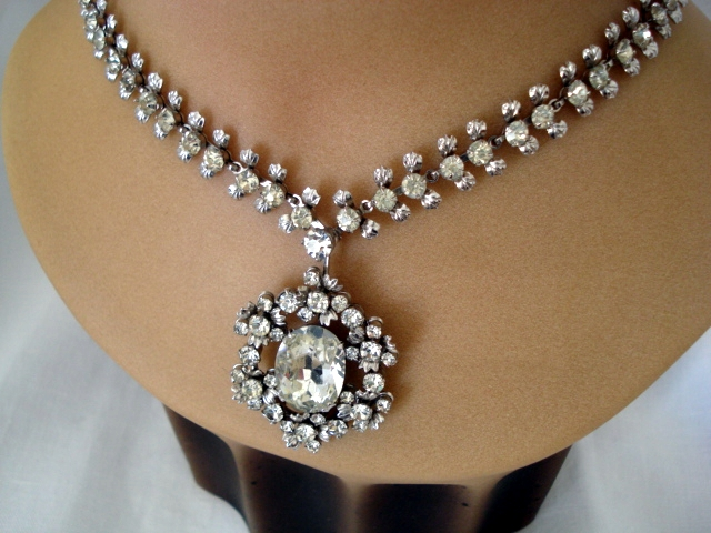 1950 S Diamante Necklace With Huge Diamond Pendant Sold