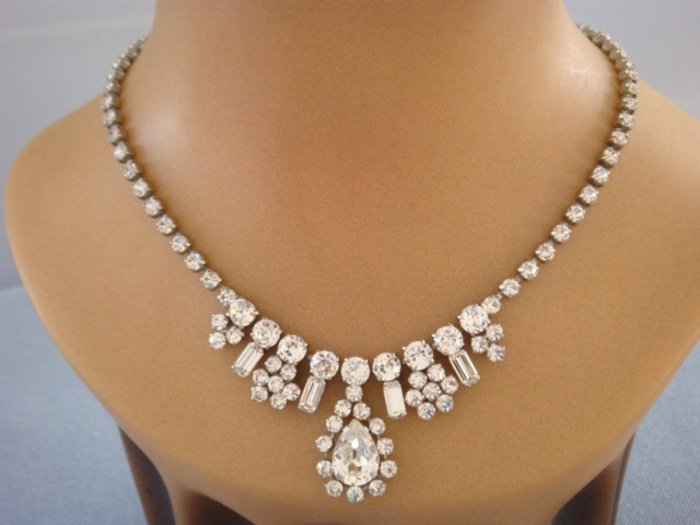 1950s Norman Hartnell Diamante Necklace Designer Signed
