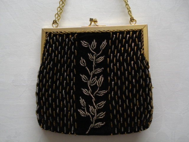 1960 S 1970 S Velvet Beaded Evening Bag Tree Of Life