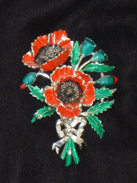 fe27cd3bfe9 1960 s Flower Brooch signed Exquisite Large Poppy SOLD
