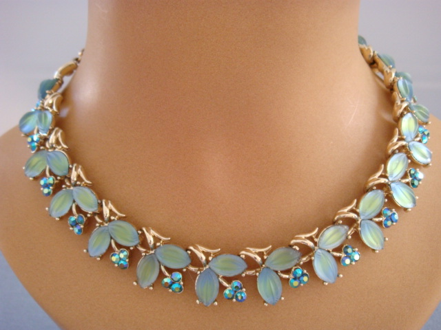 1960 s Vintage Coro Necklace -Green and Blue Leaves and Flowers- Unsigned Coro USA Designer Necklace SOLD & 1960 s Vintage Coro Necklace -Green and Blue Leaves and Flowers ...