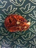 Lea Stein Gomina the Cat Brooch in Swirled Orange Marmalade Tones (SOLD)