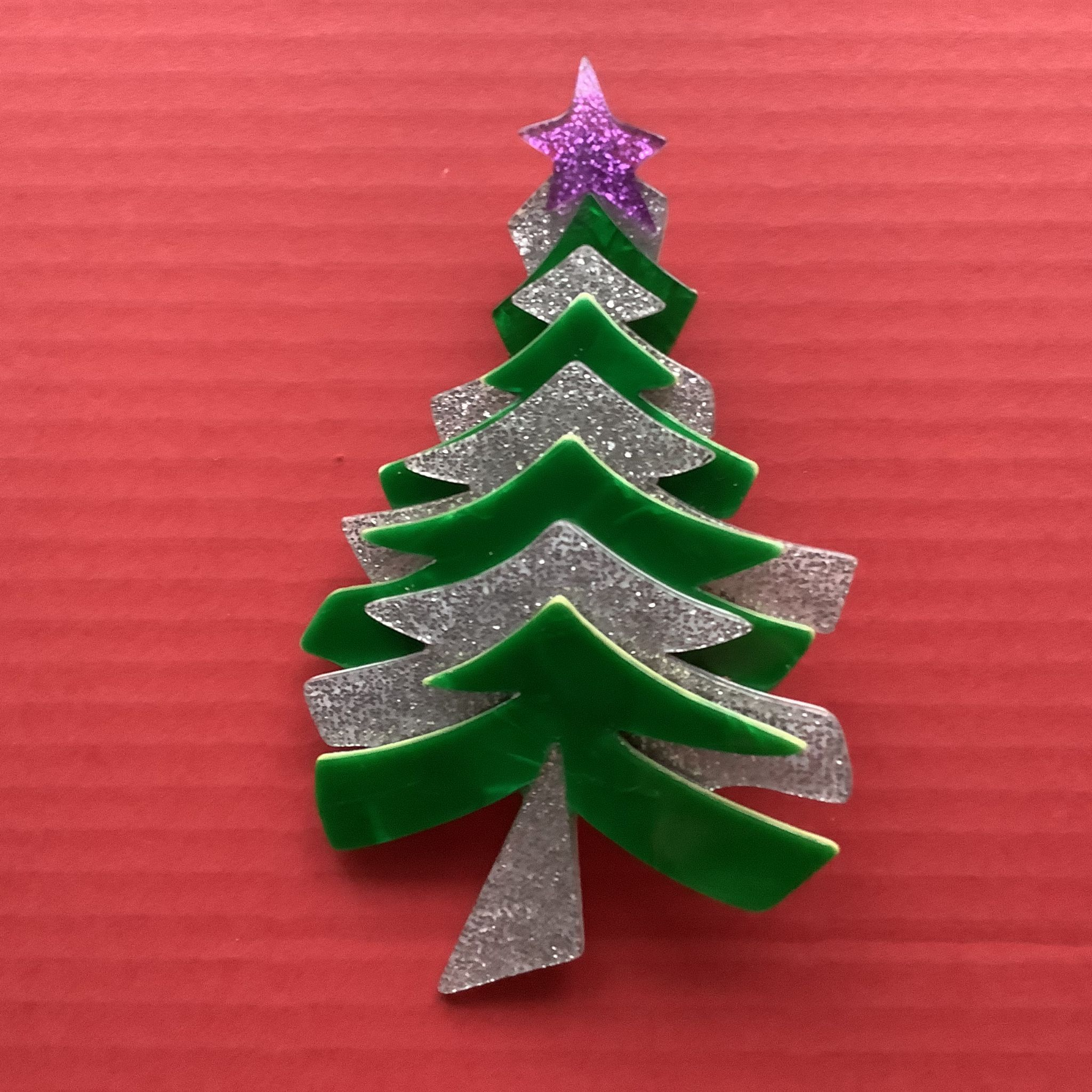 Sold A Christmas Tree Brooch Large Lea Stein Xmas Pin Green And Silver